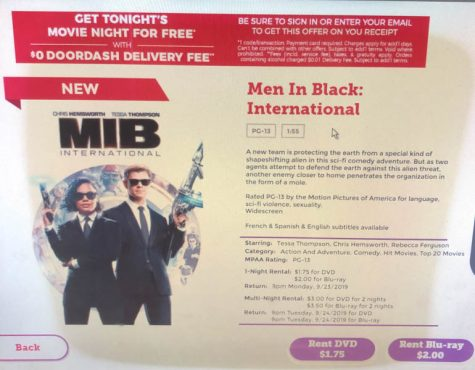 The movie Men In Black: International can be found for rent at the local Red box located in front of Walgreens.