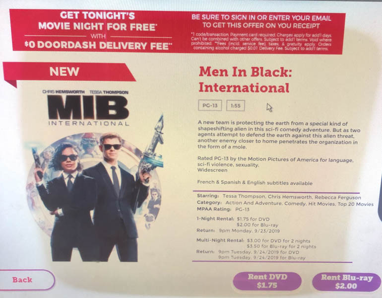The+movie+Men+In+Black%3A+International+can+be+found+for+rent+at+the+local+Red+box+located+in+front+of+Walgreens.