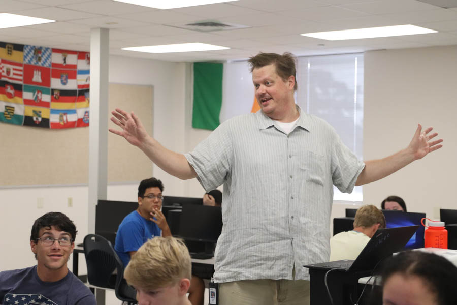 In room 2323, av teacher James Dirkes talks to his class about the history of movies. This was just one of many lectures for Mr. Dirkes.