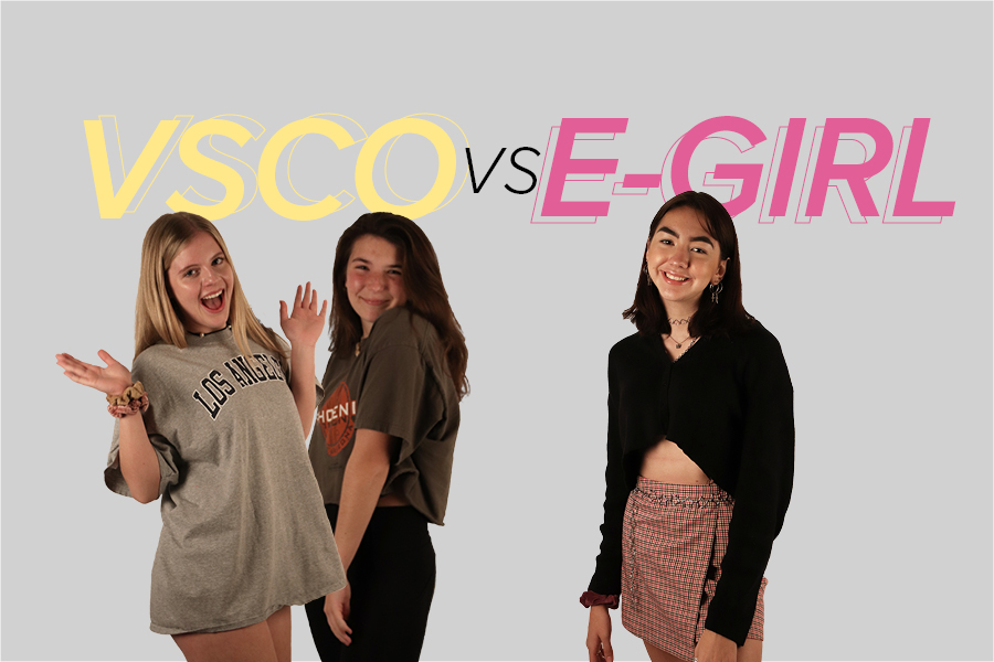 Both VSCO girls juniors Mia Evans (left) and Addison Porch pose with e-girl junior Leslie Townsend to represent their respective Internet cultures.