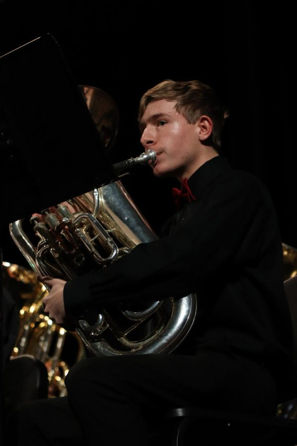 Junior Liam White performs at band's Winter Concert.
