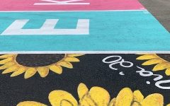 Student-painted parking spots from nearby high schools.